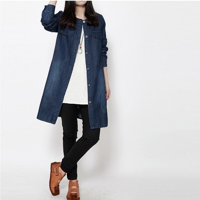 Мода женщина старинные тонкие длинные джинсовые тренчи джинсы однобортный с карманными жан ветровка верхней одежды для женщин