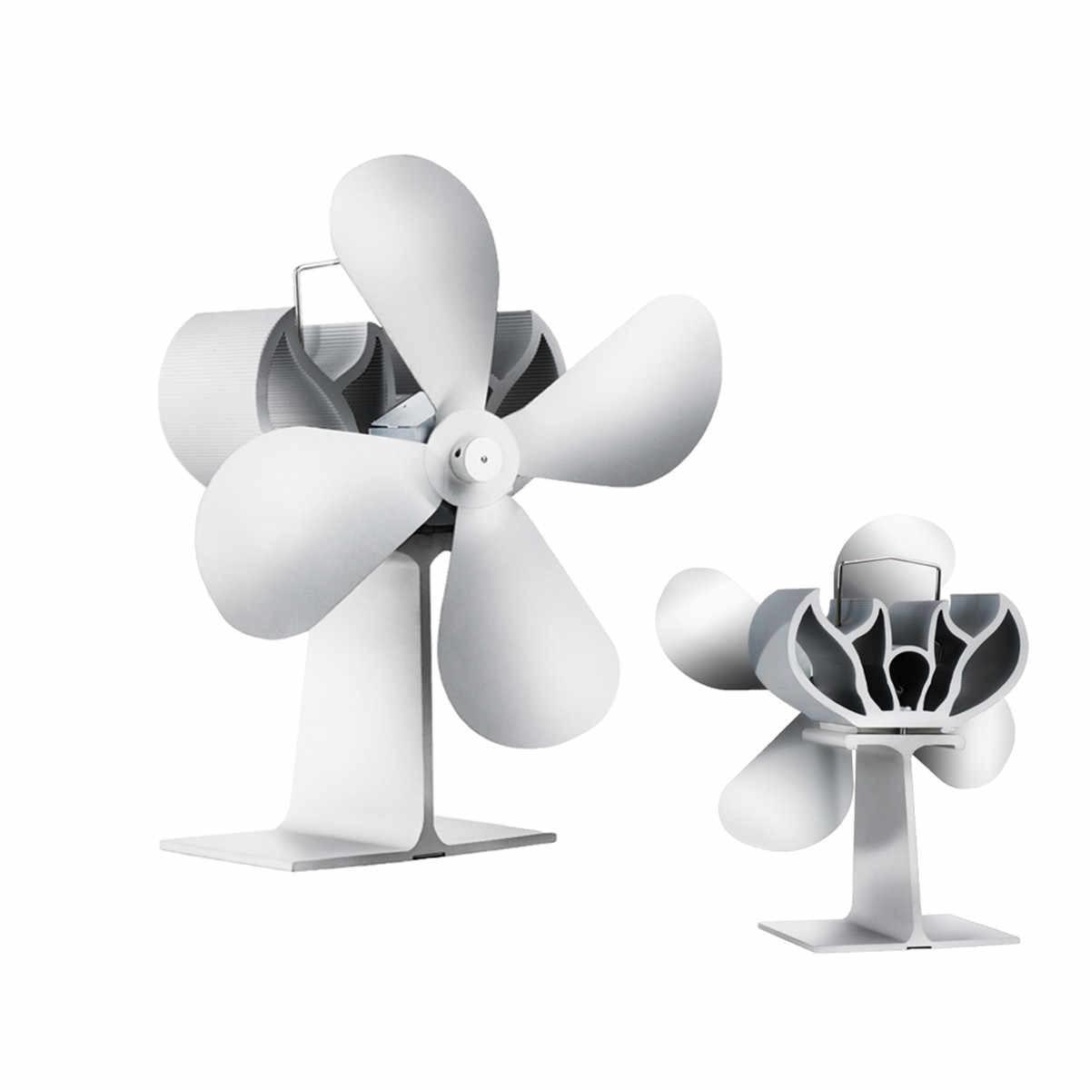 Белый вентилятор печки 4 лезвия Вентилятор для камина с тепловым питанием komin деревянная горелка эко бесшумный вентилятор эффективное распределение тепла 203CFM 1000 об/мин