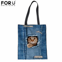 75598a2a4482 FORUDESIGNS Canvas Tote Bag Denim Jeans Cat 3D Printing Cotton Shopping Bag  Fashion Storage Package Bag Linen Grocery Sacola New
