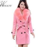 WMWMNU 2018 invierno moda delgado largo abrigo de lana de las mujeres Grandes Cuello de piel de Doble Botonadura de lana cálida chaqueta Elegante de la vendimia de rosa escudo