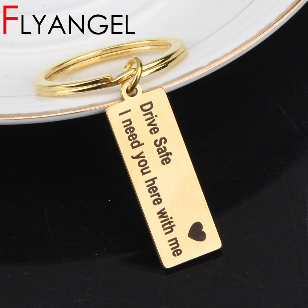 Custom Fashion Keyring Gifts Engraved Drive Safe I Need You Here With Me Keychai