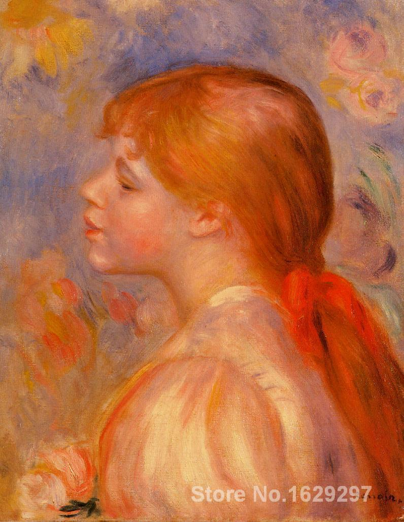 large oil paintings for sale Girl with a Red Hair Ribbon Pierre Auguste Renoir canvas art Handmade High Qualitylarge oil paintings for sale Girl with a Red Hair Ribbon Pierre Auguste Renoir canvas art Handmade High Quality