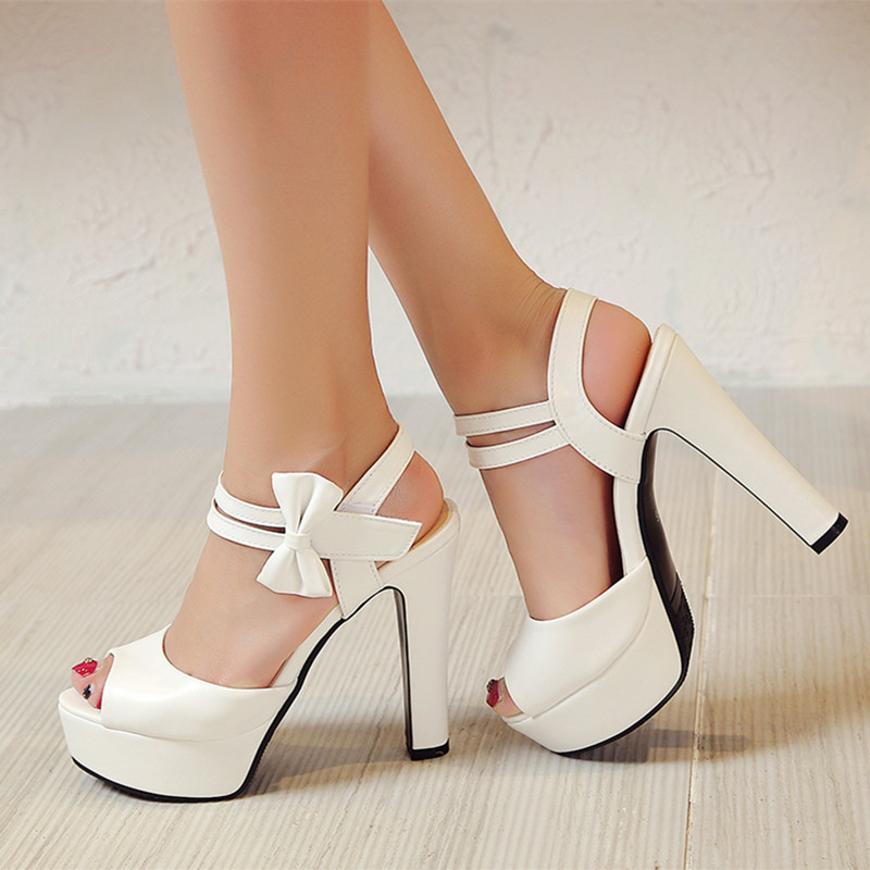 2017 Summer Ivory White High heels sandals fashion sexy peep toe platform sandals woman bow-knot party shoes wedges sandals high