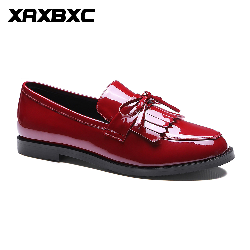 XAXBXC 2018 Spring Retro Brogues Oxford Genuine Leather Butterfly-knot Low Heel Tassels Women Shoes Handmade Casual Lady Shoes beau today brand retro british style 2017 women low heel genuine leather casual brogues wingtip oxford shoes black blue brown