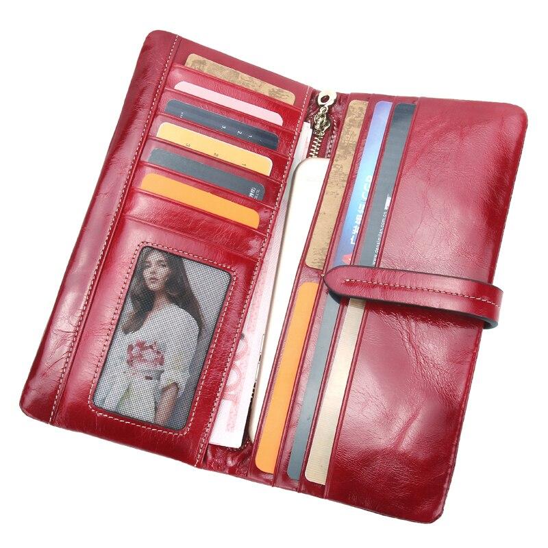 cuero rojo carteras largo
