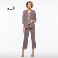 Dressv Grey 3 Pieces Mother Of The Bride Pants Suit With Long Jacket 3 4 Sleeves