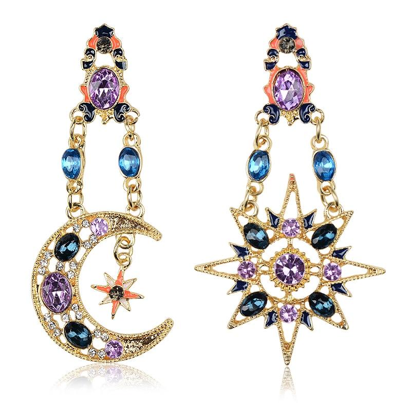 QCOOLJLY Hot Style! Statement Stars Gem Bohemian Sun Moon Earrings For Women Fashion Jewelry Wholesale brincos grandes