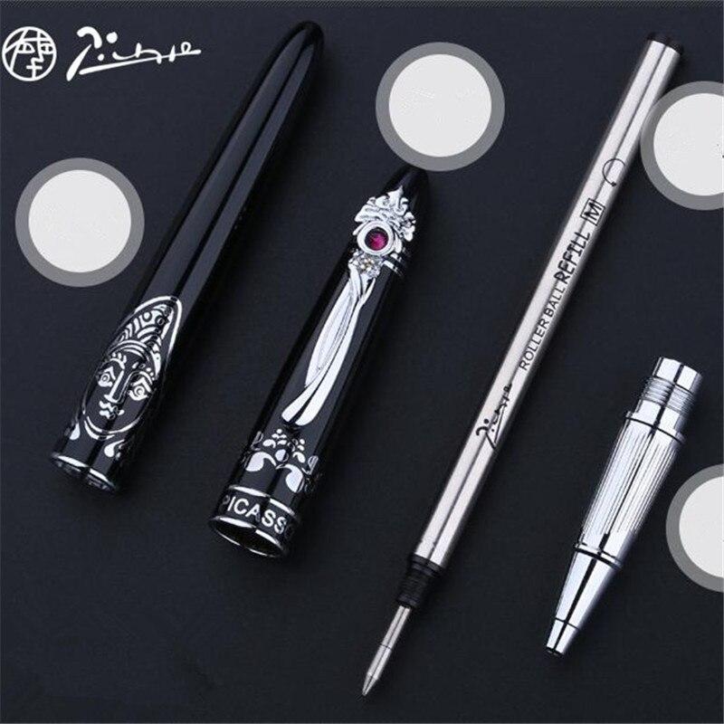 1 pc/lot Picasso 928 stylo à bille rouleau noir argent Clip série limitée Jacqueline fournitures scolaires marque stylos 14.1*1.2 cm