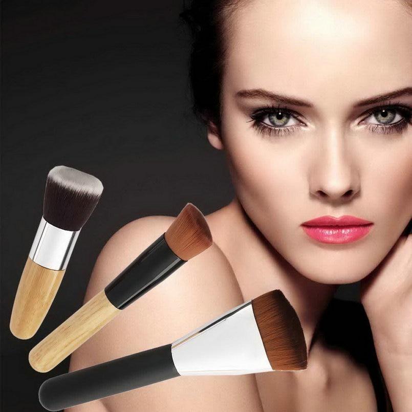 3pcs/set Cosmetic foundation Brush Face Make Up Blusher Flat Oblique Shape brand makeup brushes professional(Three Conbination) professional bullet style cosmetic make up foundation soft brush golden white