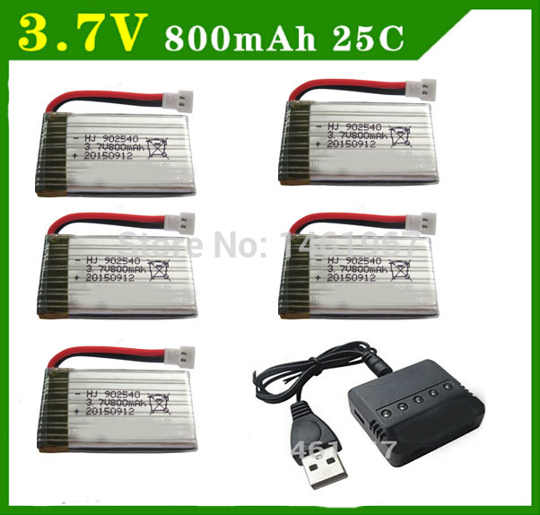 Syma x5c Parts X5 Charger X5C X5C-1 RC Quadcopter Spare 5 in1 Battery Charger with 5pcs Lipo Battery 3.7V 800mah