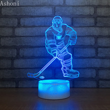Ice Hockey Player 3D Table Lamp LED Maple Leafs Night Light 7 Colors Changing Bedroom Sleep Lighting Home Decor Gifts 3d ice hockey goalie modelling table lamp 7 colors change led nightlight usb bedroom sleep lighting sports fans gifts home decor