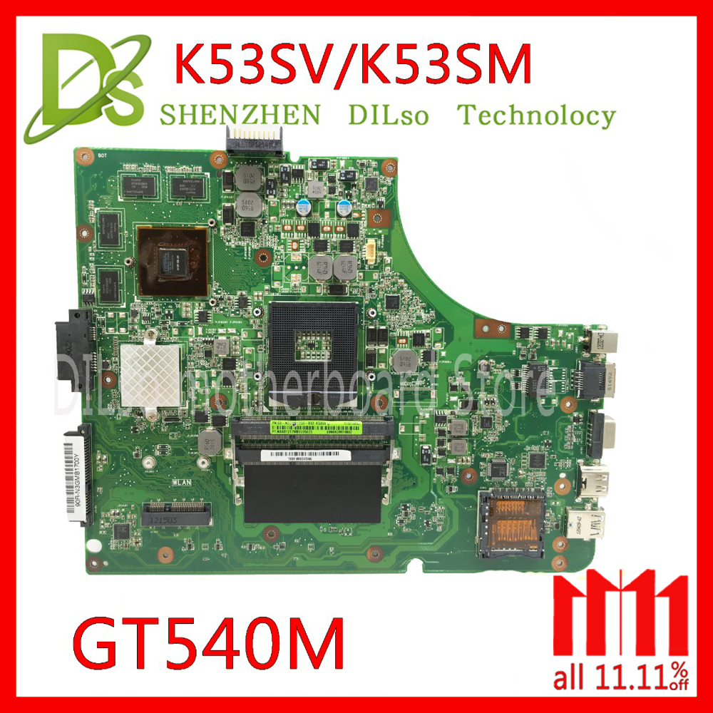 KEFU K53SV motherboard for ASUS K53SM K53S A53S X53S P53S K53SJ K53SC laptop motherboard rev2.1/3.0/3.1 motherboard GT540M Test sheli k53sv motherboard for asus x53s a53s k53sj k53sc p53s k53sm k53sv laptop motherboard 2 1 2 3 3 0 3 1 original tested