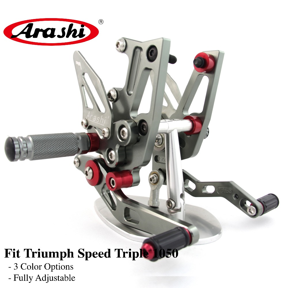 Arashi Rider Rearset Adjustable Footrests For TRIUMPH Speed Triple 1050 2011-2014 Foot Pegs Footrest Rest 2012 2013 Aluminum