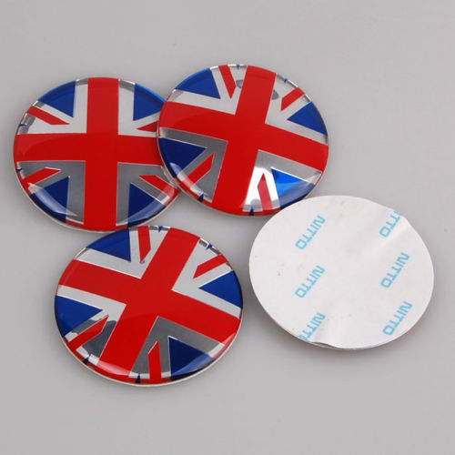 4pcs 52mm Union Jack Wheel Center Hub Cap Badge Emblem
