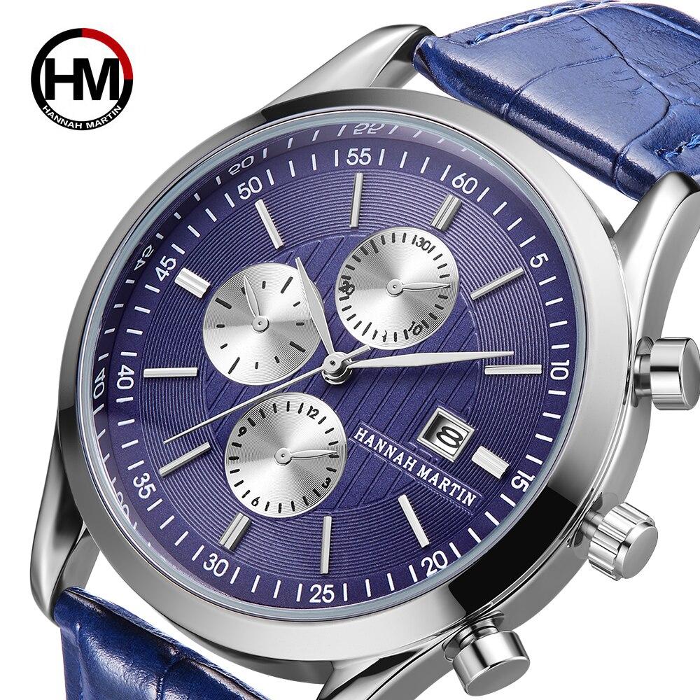 2019 Mode Neue Ankunft Blau Männer Uhren Top-marke Luxus Kalender Wasserdicht Männer Sport Casual Echtem Leder Armbanduhr Relogio Masculino