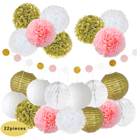 22pcs Set 8 20cm Gold White Chinese Paper Lantern Fresh Tissue Pom Poms Flowers String