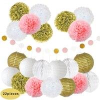 22pcs/set 8'' (20cm) Gold White Chinese Paper Lantern Fresh Tissue Pom Poms Flowers String Garland DIY Wedding Outdoor Decor