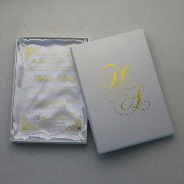30pcs personalized gold foil acrylic wedding invitation cards for