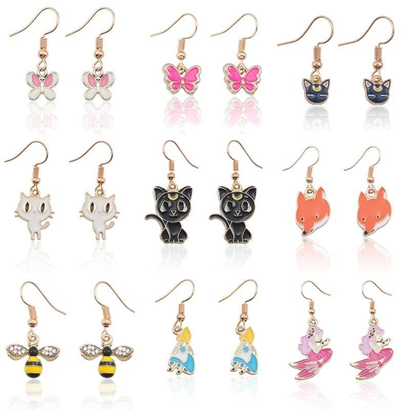 Cartoon Animal Earrings For Women Lovely Gold Enamel Alice Butterfly Mermaid Bee Fox Cat Dangle Earring Girls Kids Jewelry Gifts|Drop Earrings| - AliExpress