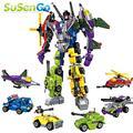 Super Heroes 6 EN 1 Transformar Robot Bloques De Construcción Modelo de Kits de Juguetes Figura de Acción Gundam Niños Embroma el Regalo