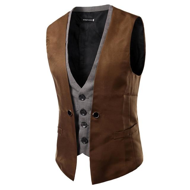 AIMENWANT ropa 2018 de Corea Slim Fit doble botonadura trajes chaleco hombre Inglaterra suave contraste chaleco hombre Tops regalos