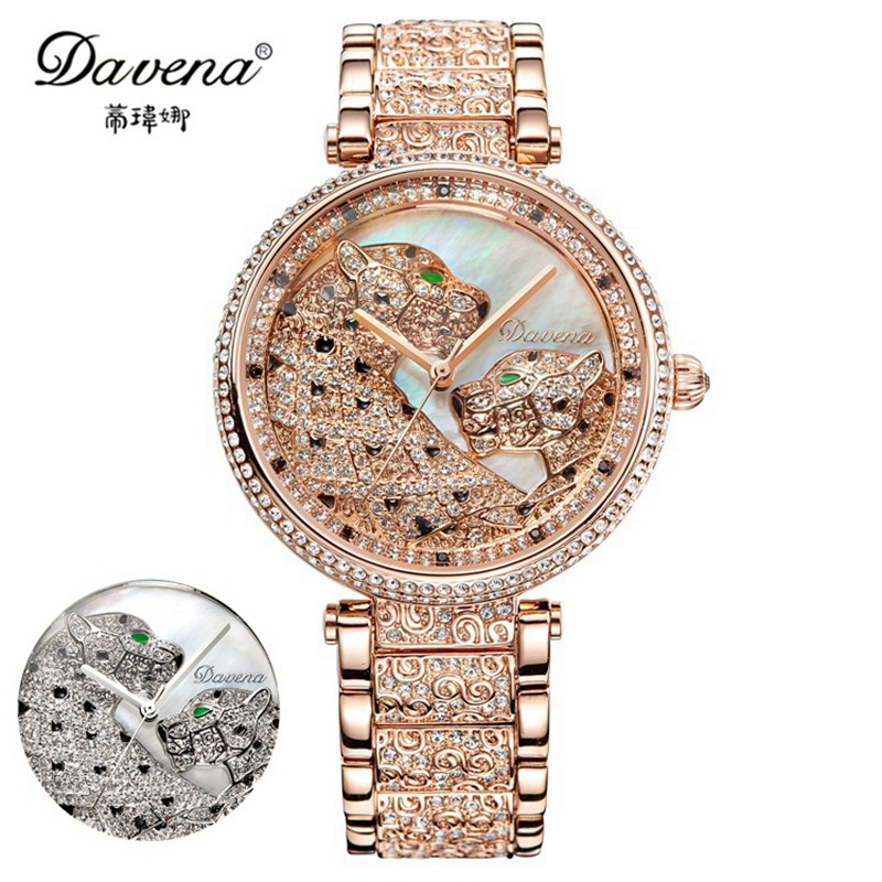 2017 Hot Gold Silver Steel Cool Leopard Wristwatch Women Dress Rhinestone Watches Fashion Casual Watch Luxury Davena 60901 Clock hot women s steel ceramic wristwatch women dress rhinestone watches fashion casual quartz watch luxury brand melissa 8009 clock