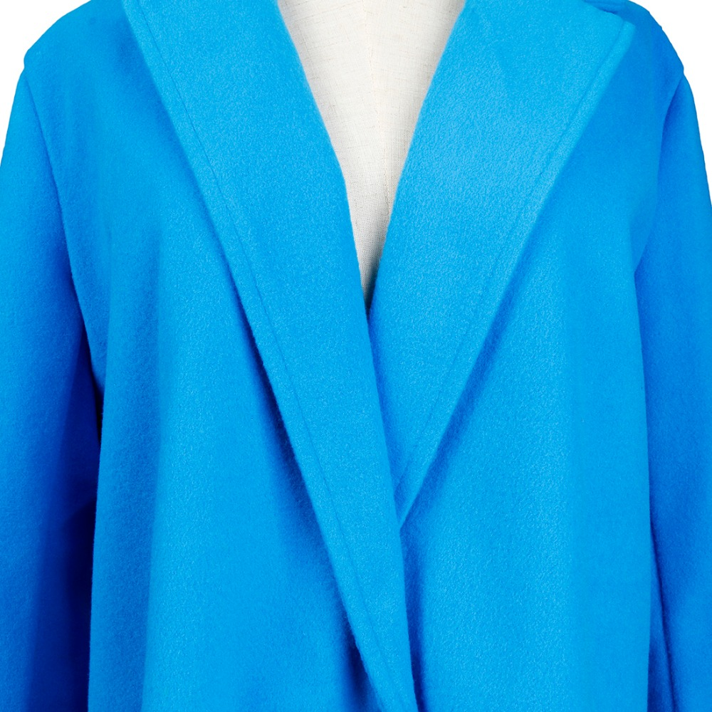 Women Autumn Winter Woollen Coat Long Sleeve Turn-Down Collar Oversize Blazer Outwear Jacket Elegant Overcoats Loose Plus Size 14