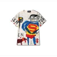 Superman Graffiti Funny t Shirts Men Summer Short Sleeve Baggy t Shirt Vintage Hiphop Street Rap Korean Style Mens Tops 5S