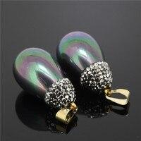 Popular Colorful Water Drop Pave Rhinestone Pendant Charm Druzy Drusy Quartz Stone Pendant Connector For Jewelry