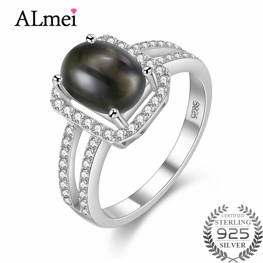 Almei 3.5ct Gray Oval Star Sapphire Wedding Rings 925 Sterling-Silver-Jewelry for Women Gemstone Jewelry with Free Box 40% FJ036