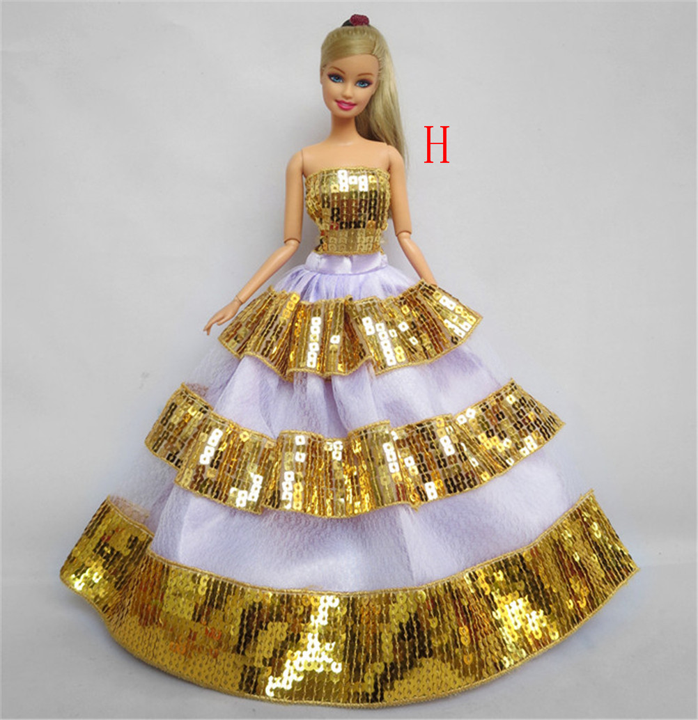 1Piece Multi Layers Evening Dress For Barbie Doll Wedding Dress Furniture For Doll Clothes For Barbie Doll Accessories 2 items 1dress 1 set accessories 1pair earing 1necklace little girls s gift luxurious wedding dress for barbie doll