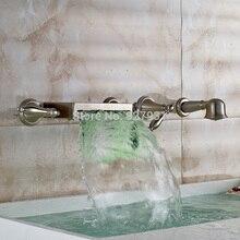 LED Цвет Изменение Водопад Ванной Кран Настенные Широкое Ванная Комната Ванна Смеситель Матовый Никель