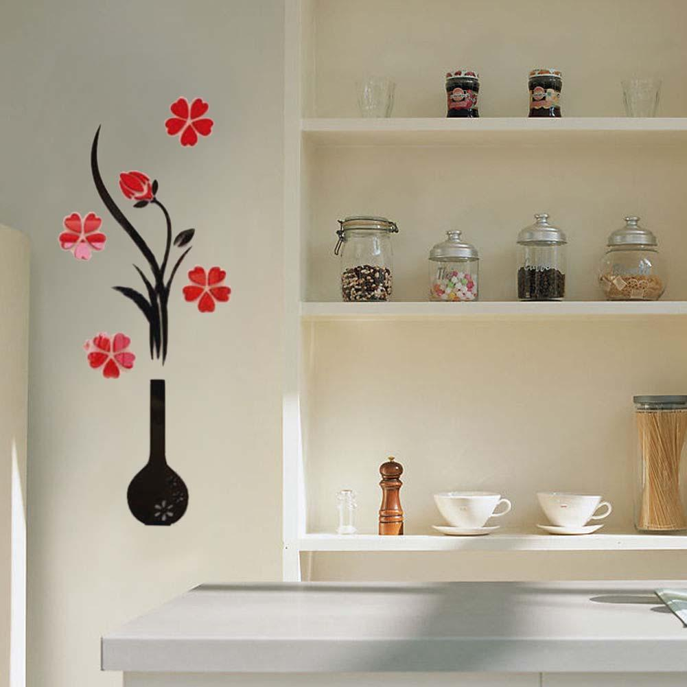 3d Vaso De Flor Rvore Adesivo De Parede Em Casa Sala De Tv  -> Vasos Na Sala De Tv