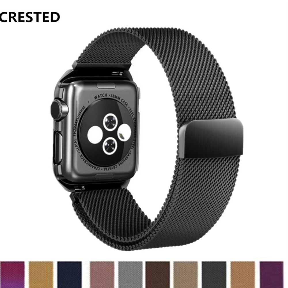 CRESTED Milanese Schleife strap Für Apple Uhr band 42mm 38mm correa iwatch 3 2 1 Edelstahl armband link Armband gürtel fall
