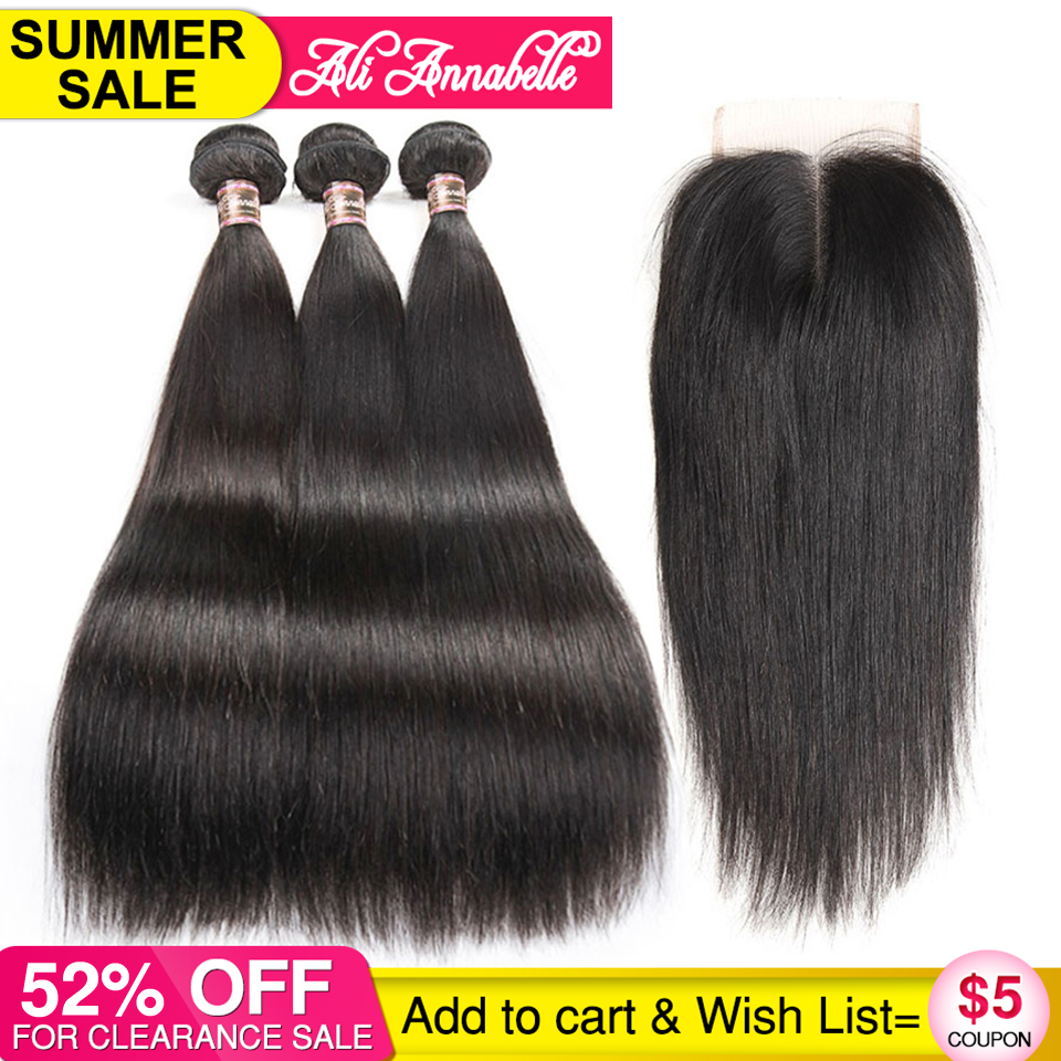 ALI ANNABELLE HAIR Straight Hair Bundles with Closure 100 Virgin Human Hair Bundles with Closure Brazilian