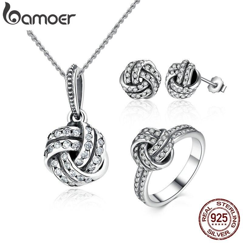 BAMOER authentique 100% 925 argent Sterling étincelant amour noeud tissage ensembles de bijoux en argent Sterling bijoux accessoires ZHS001