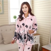 New Flannel Butterfly ink painting Cardigan Turn down Collar women pajamas Leisure clear Home clothing Long sleeved trousers