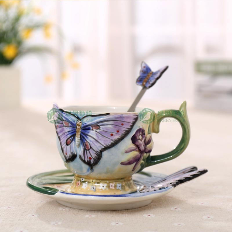 European Style Ceramic Hand-painted Butterfly Coffee Cup 3D Colored Enamel Porcelain Cups with Saucer and Teaspoon
