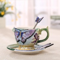 European Style Ceramic Hand painted Butterfly Coffee Cup 3D Colored Enamel Porcelain Cups with Saucer and Teaspoon