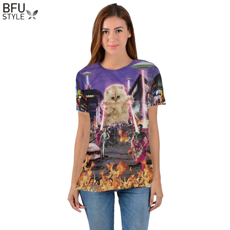 Moda Gattino Gatto Magliette 3d Donna Uomo Tees Killer Laser Kitty T-Shirt Divertente Animale di Disegno del Gatto Tee Parti Superiori di Estate di Stile Dropship