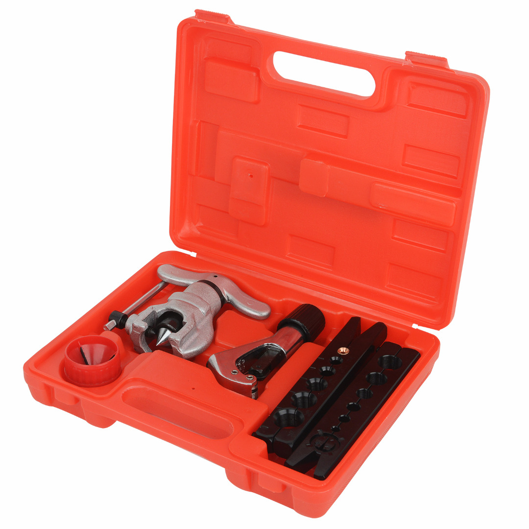 Copper Brake Fuel Pipe Repair Double Flaring Dies Tool Set Clamp Kit Tube Cutter Eccentric Tube Flaring Flare Tool Kit MAYITR 1set wk 806ft copper tube flaring cutting tool kit pipe flaring tool set cutting knife suit for 5 32mm copper pipe