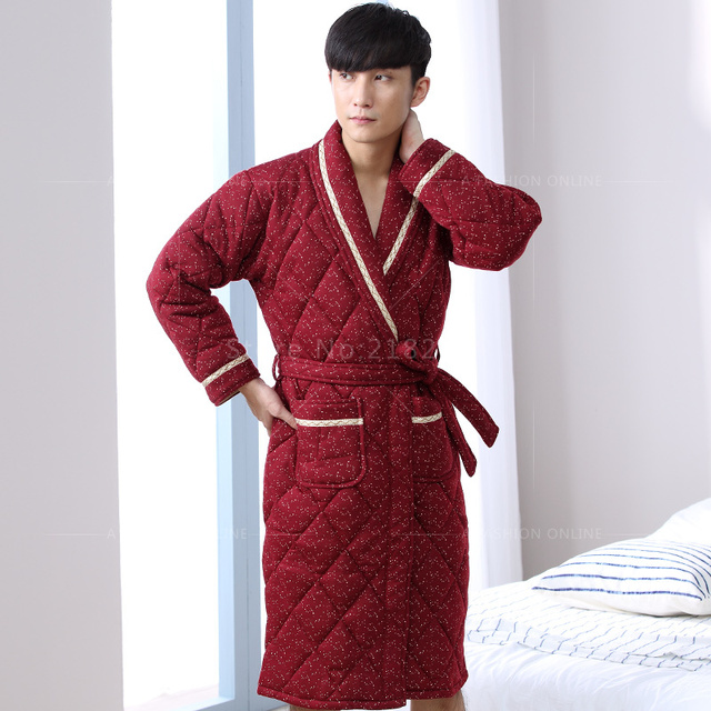 436ed27b53 New Winter Men s Nightgowns Warm Robes for Men Sexy Bath Robe Quilted  Bedroom Robe Spa Shower Bathrobe Plus Size 3XL Fashion