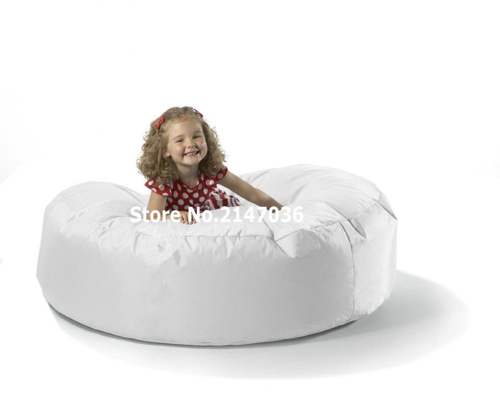 White Round Island Bean Bag Chair Outdoor Sofa Cover