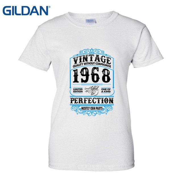Made In 1968 Born 49th Year Birthday Age Present Gift T Shirt Cotton Tee Shirts Women Lady Top Quality 2018 New Brand