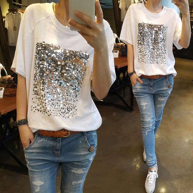 2019 New Korean Women Summer Loose Casual Sequined Short-sleeved White Black T-Shirt