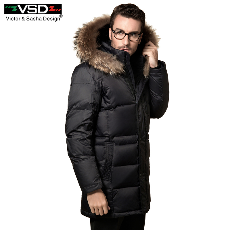 VSD 90% White Duck   Down   Jackets Quality Handsome Warm Long Fashion Business Winter Men's Clothing Casual   Coat   Male Parka VSD-995