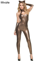 Gold Faux Leather Tiger Leopard Snakeskin Latex Jumpsuit Rompers Bodysuit Catsuit Shiny Party Fashion Girl Costume