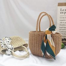 Ins Handmade Woven Women's Straw Bags Casual Rattan Top Hand