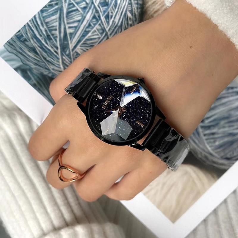 Livraison directe de mode personnalité cadran étoilé montre pour femme en or Rose en acier inoxydable ceinture dames montre à Quartz relojes para mujer-in Montres femme from Montres    2