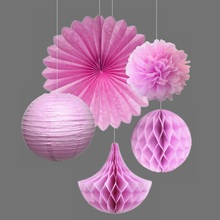 5pcs/set  Pink Party Decoration Kit Tissue Paper Pom Poms/Fans Honeycomb Drops/Balls Flowers Wedding/Birthday Decor